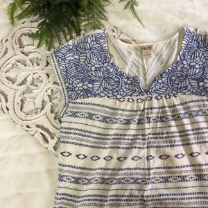 Lucky Brand Blue/White Aztec Embroidered Flowers